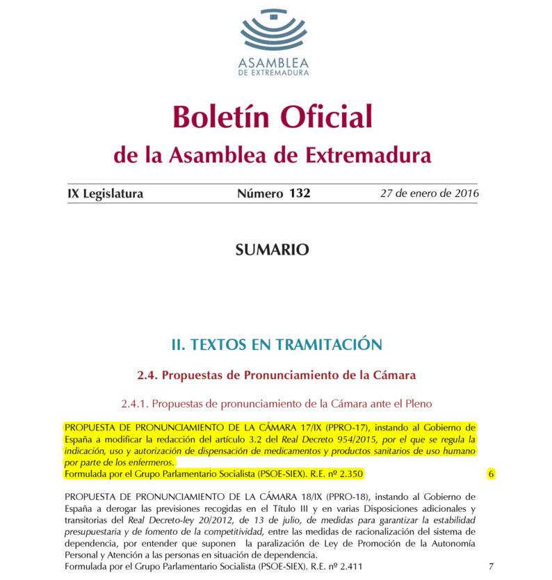 Propuesta de Pronunciamiento de la Cámara (Prescripción)