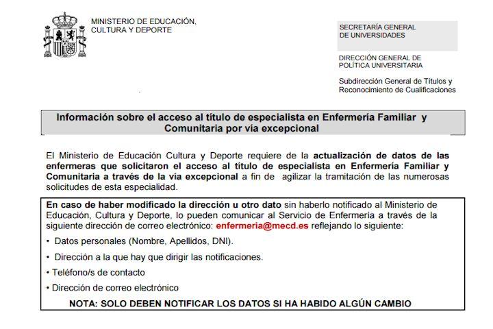 Información acceso título especiales Enfermería Familiar y Comunitaria por vía excepcional