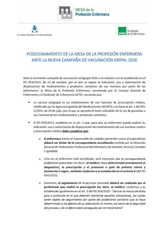 Posicionamiento Mesa Profesión Enfermera ante nueva campaña de vacunación gripal 2016