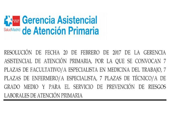 Siete plazas Enfermería del Trabajo Madrid Salud