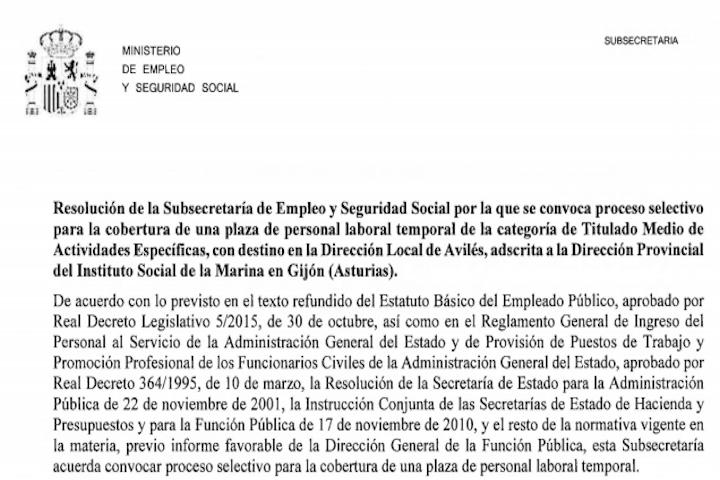 1 plaza en Dirección Provincial del Instituto Social de la Marina en Gijón
