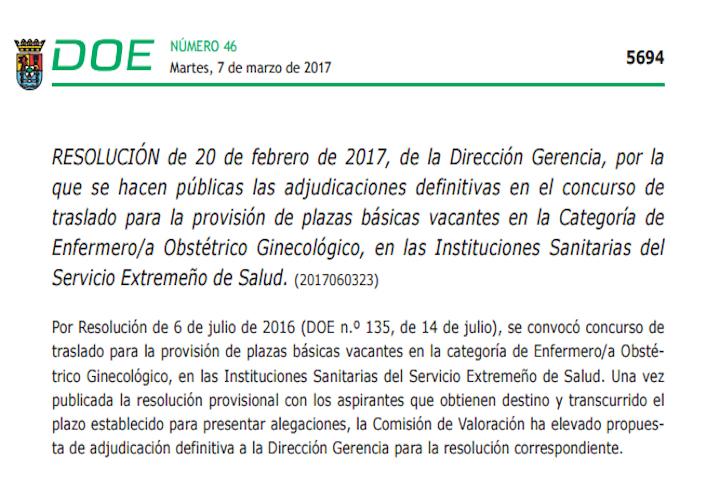 Resolución adjudicación definitiva concurso traslado matrona (Extremadura)