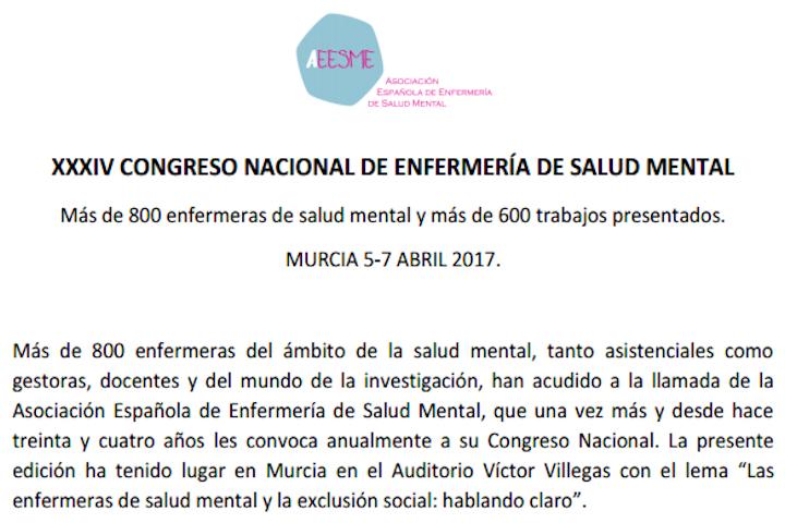 Conclusiones XXXIV Congreso Nacional de Enfermería de Salud Mental