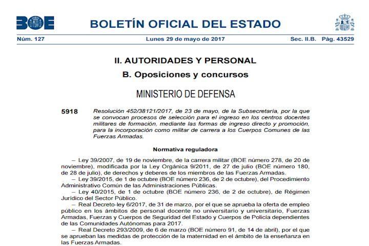 Resolución 27 plazas Enfermera. Ministerio de Defensa