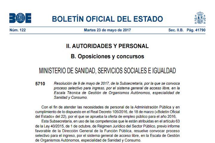 5 plazas de Enfermería - Ministerio de Sanidad, Servicios Sociales e Igualdad