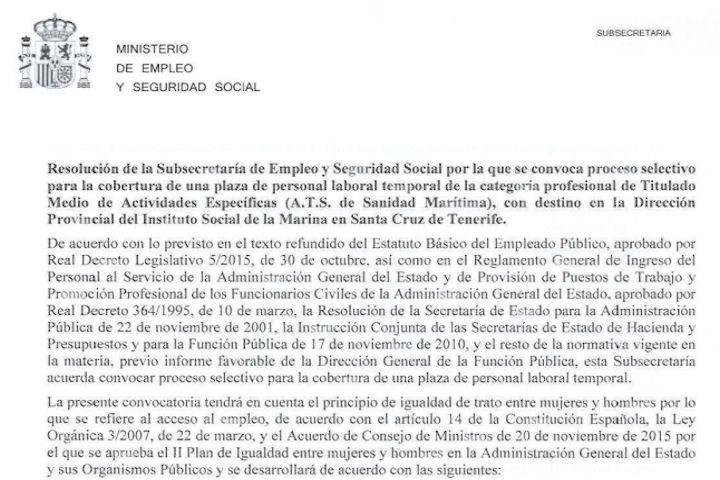 1 plaza en Dirección Provincial del Instituto Social de la Marina en Santa Cruz de Tenerife