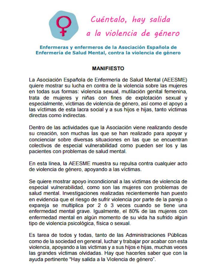 Manifiesto AEESME contra la violencia de género
