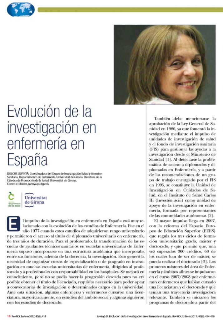Evolución de la investigación en enfermería en España