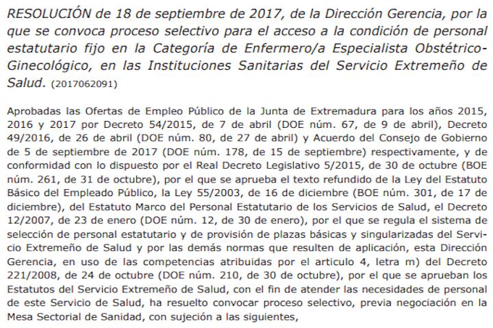 Resolución convocatoria concurso-oposición Enfermera Obstétrico-Ginecológica SES