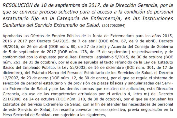 Resolución convocatoria concurso-oposición Enfermera SES