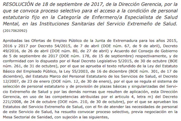 Resolución convocatoria concurso-oposición Enfermera Salud Mental SES