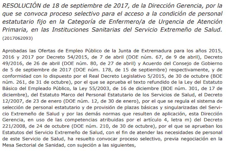 Resolución convocatoria concurso-oposición Enfermera Urgencia en AP SES