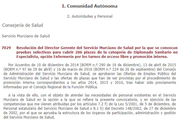 286 plazas Enfermera (Comunidad Murciana)