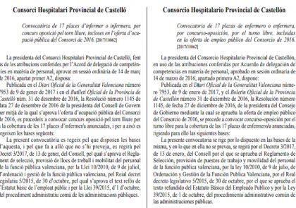 17 plazas enfermera-o en Consorcio Hospitalario de Castellón