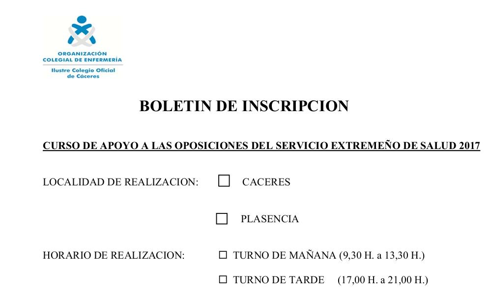 Formulario oposiciones SES