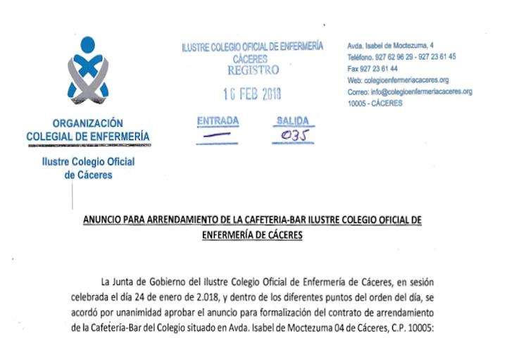 Anuncio Arrendamiento Cafetería-Bar Colegio Enfermería