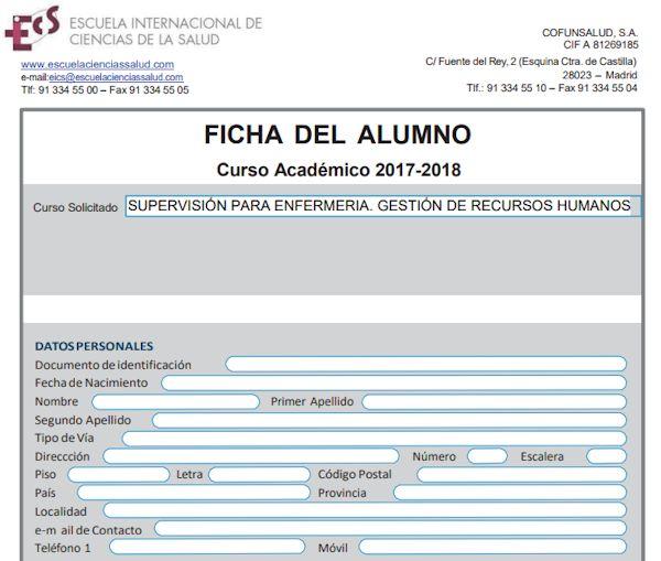Ficha alumno - Curso Supervisión de Enfermería