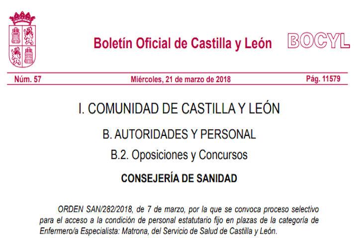 20 plazas matrona en Castilla y León