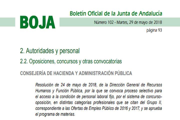 5 plazas Junta de Andalucía
