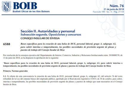 Bolsa Empleo Consejo Insular Ibiza