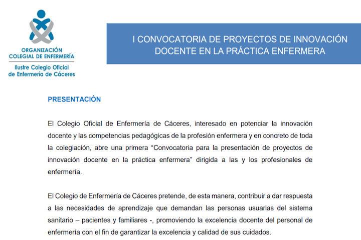 I convocatoria de proyectos de innovación docente en la práctica enfermera