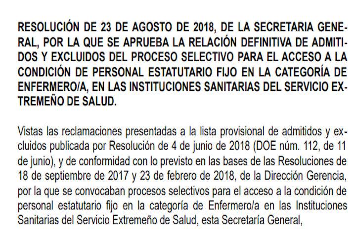 Resolución listas admitidos-excluidos enfermeras (SES)