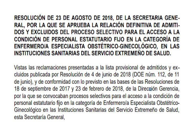 Resolución listas admitidos-excluidos matronas (SES)
