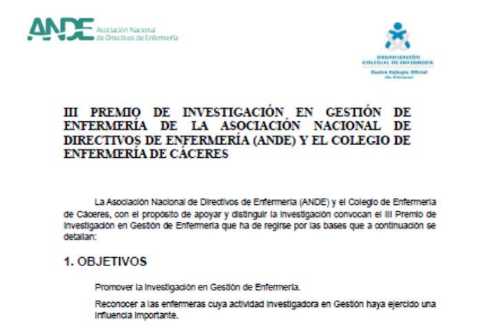 III Premio de investigación en gestión de Enfermería de ANDE y el Colegio de Enfermería de Cáceres-i