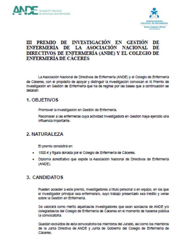 III Premio de investigación en gestión de Enfermería de ANDE y el Colegio de Enfermería de Cáceres