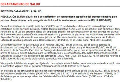 Plazas enfermera Instituto Catalán de la Salud