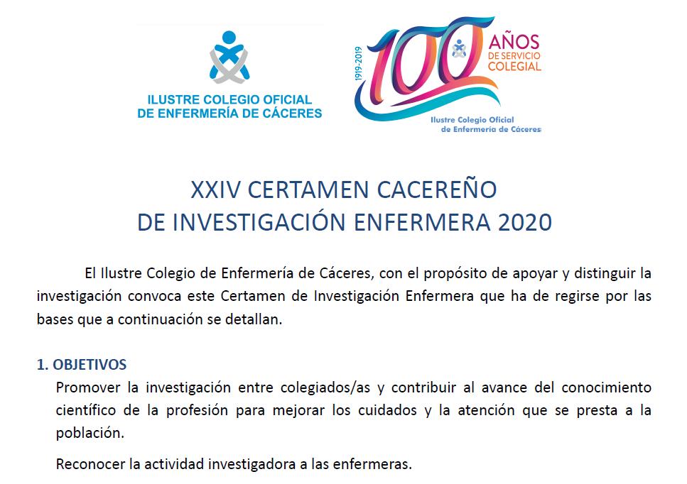 XXIV Certamen cacereño de investigación enfermera 2020 - agenda