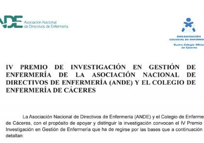 IV premio de investigación en gestión de Enfemería ANDE-COECC-I