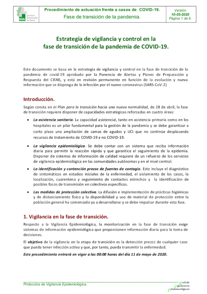 Estrategia de vigilancia y control en la fase de transición COVID-19