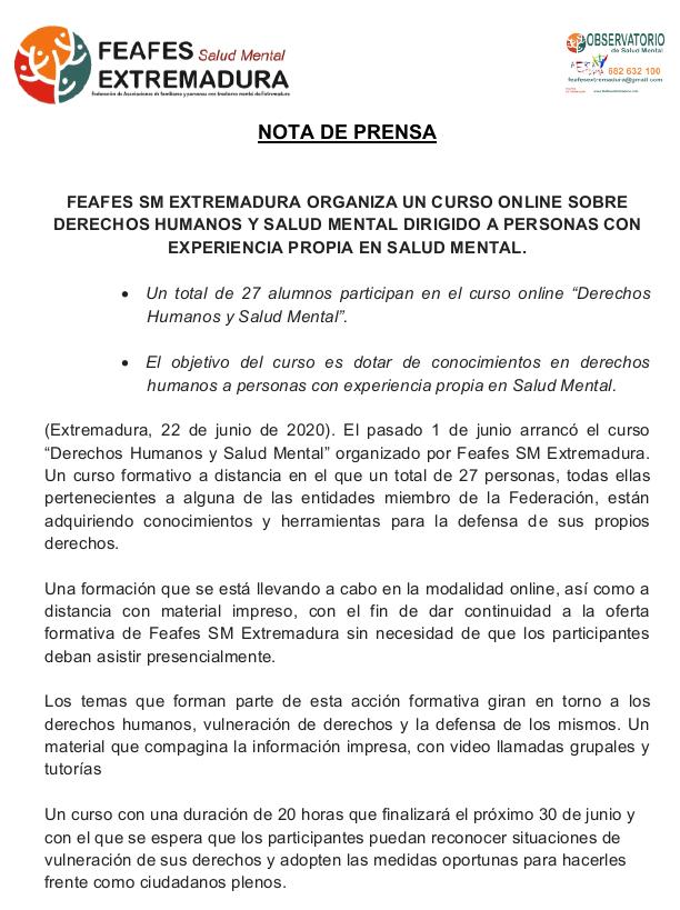 Curso de Derechos Humanos y Salud Mental de Feafes SM Extremadura