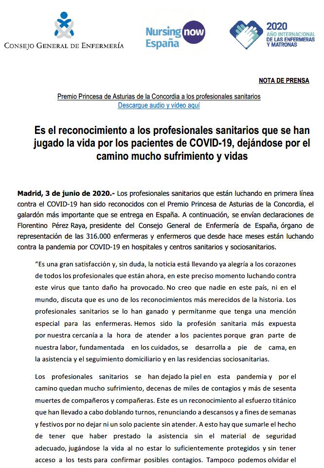 Premio Princesa de Asturias a los profesionales sanitarios