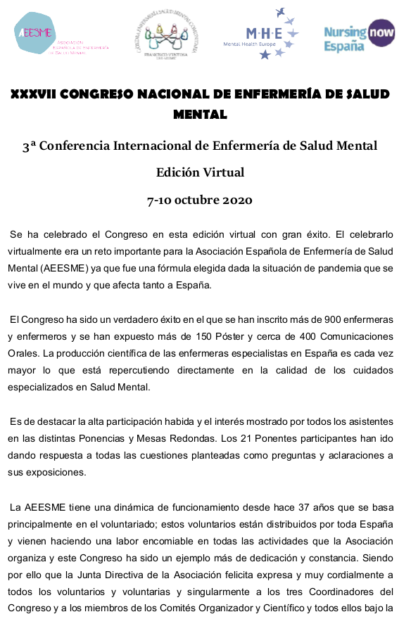 XXXVII Congreso nacional de Enfermería de Salud Mental