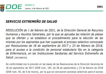 Elección de plazas de Enfermería - Extremadura