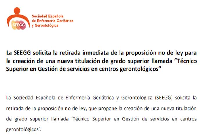 SEEGG solicita retirada Técnico Superior en Gestión de Servicios en centros gerontológicos