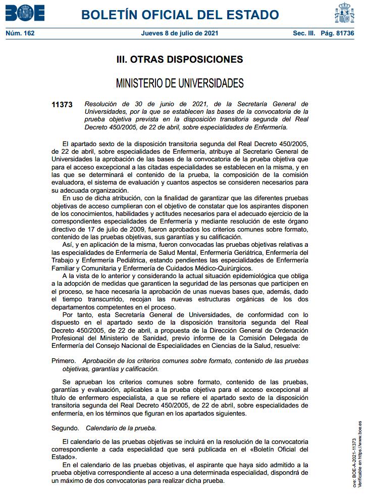 Bases de la convocatoria de la prueba objetiva de acceso a las especialidades de Enfermería por la vía excepcional
